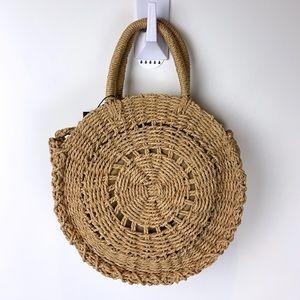 New Rubi Straw Woven Sling Bag Handbag Purse Brown